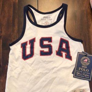 Polo Ralph Lauren Girls 3T USA tank top, new